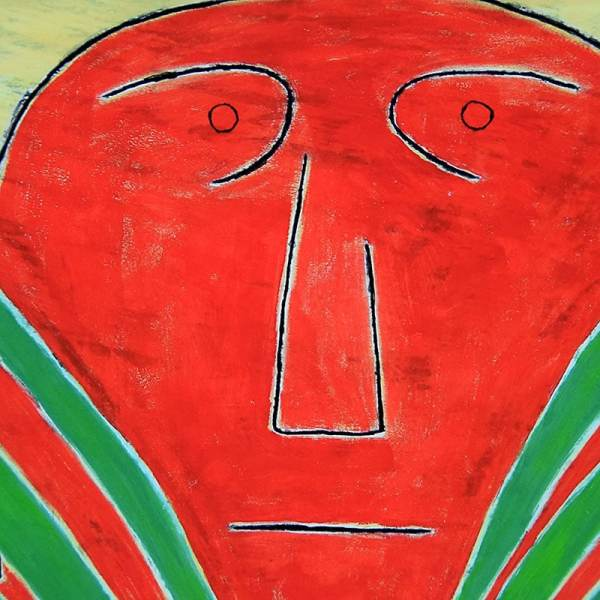 detail of face, ancient art style figure in deep red-orange with large blades of green grass in hands on a textured light yellow background by JAO