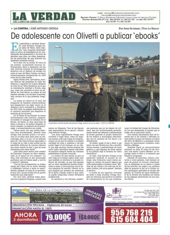 Página de contraportada que La Verdad del Campo de Gibraltar dedicó a J. A. Ortega