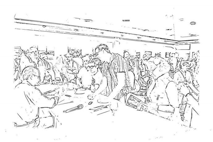 Dibujo de J. A. Ortega en la presentación de El Reino de las Sirenas
