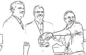 Dibujo de Sánchez, Rivera e Iglesias