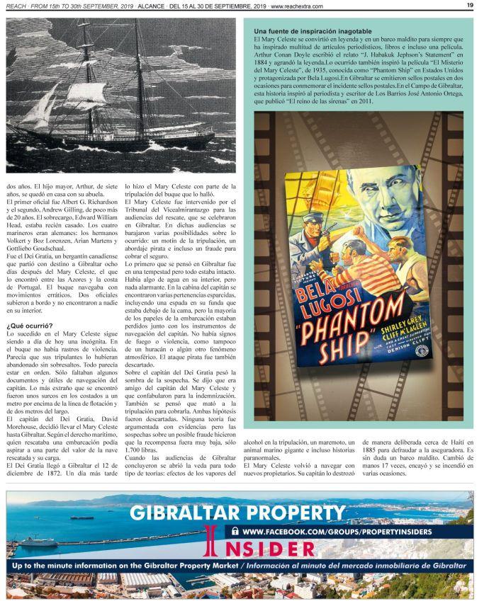 Imagen de la segunda de las páginas del reportaje que la revista Reach Extra Alcance dedica al misterio del Mary Celeste.