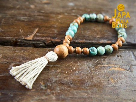 African Turquoise and Meranti Bracelet Mala
