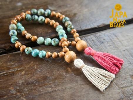 African Turquoise and Meranti Bracelet Mala