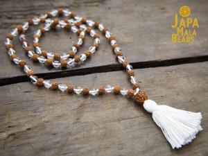 Crystal and Rudraksha Full Mala