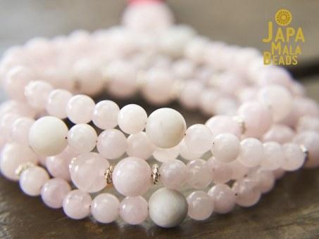 Rose Quartz White Agate Buddhist Mala Beads