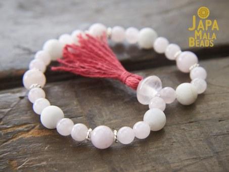 Rose Quartz White Agate Bracelet Mala