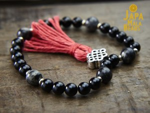 Black Tourmaline and Silver Leaf Jasper Mala