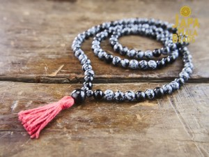 Snowflake Obsidian & Black Onyx Necklace Mala