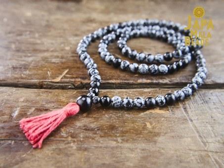 Snowflake Obsidian & Black Onyx Necklace Mala