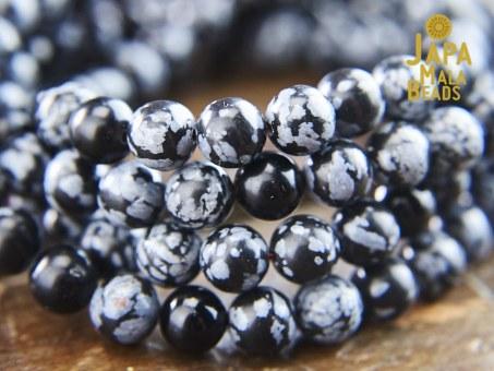 Snowflake Obsidian & Black Onyx Necklace Mala beads
