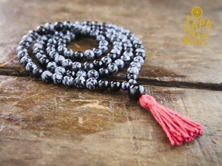 Snowflake Obsidian & Black Onyx 108 bead Mala