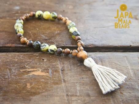 Qinan Sandalwood Yellow Turquoise Wrist Mala