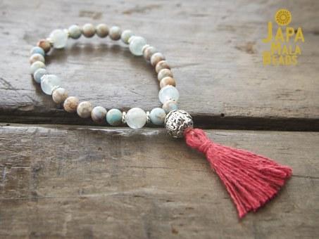 Blue Impression Jasper and Aquamarine Wrist Mala Beads