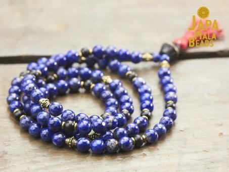 Lapis Lazuli, Brass and Ebony Full Mala