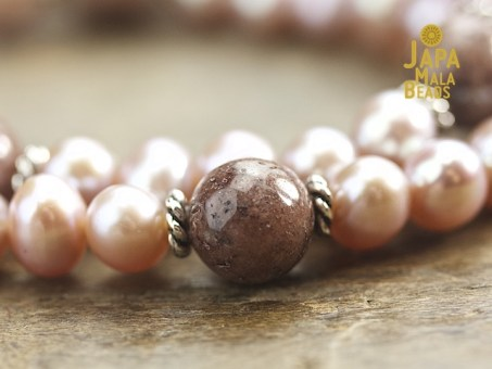 Pink Pearl and Purple Aventurine Wrist Mala