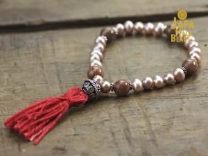 pink pearl mala beads