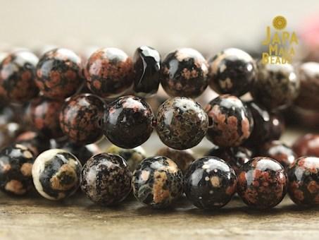 Red Snowflake Jasper Mala Beads