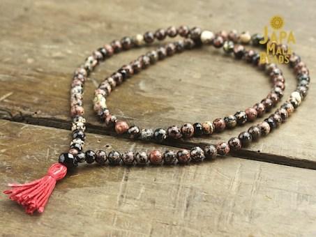 Red Snowflake Jasper & Obsidian Full Mala Beads