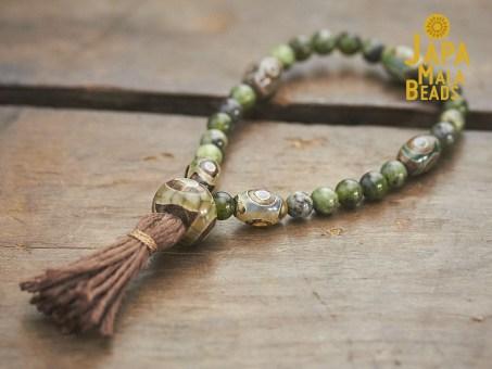 Jade and Dzi Agate Mala Beads