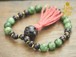 African Green Aventurine and Ebony Mala