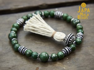 Green Pyrite and Silver Mala