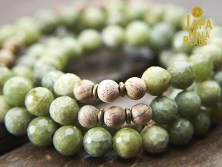 Green Garnet and Agarwood Mala Beads