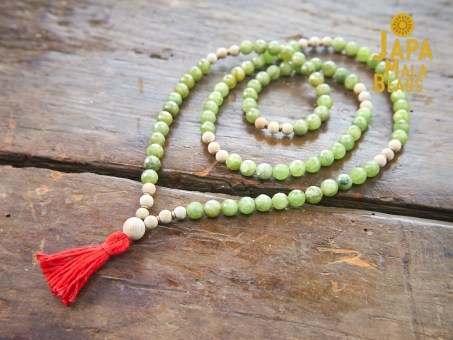 Green Garnet and Silkwood 108 bead Mala