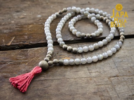 Labradorite and Silver Greywood Full Mala