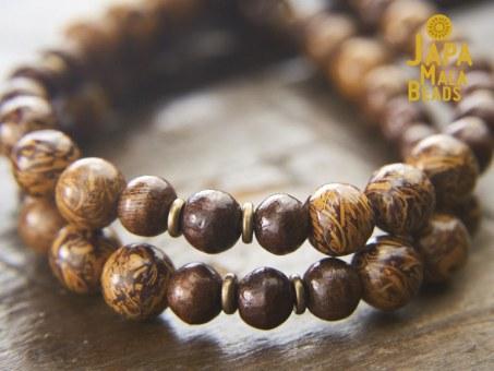 Elephant Skin Jasper and Taxus Wood Mala Beads