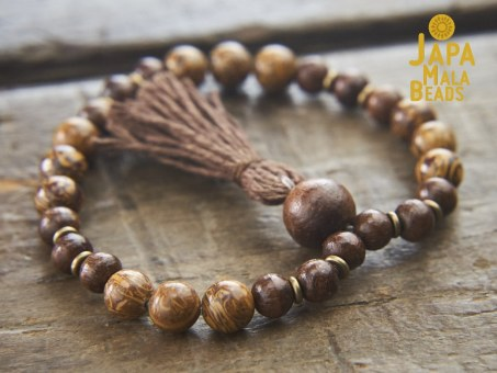 Elephant Skin Jasper and Taxus Wood Bracelet Mala