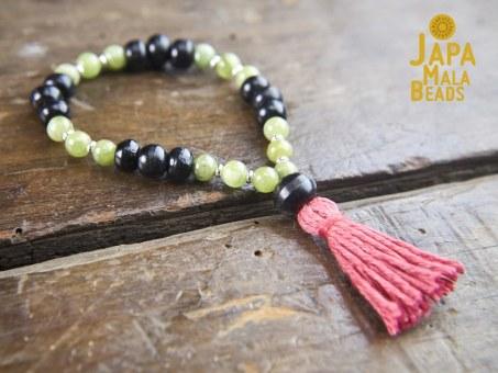 Black Horn and Green Garnet Hand Mala