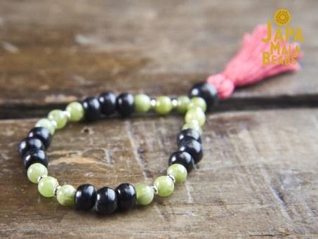 Black Horn and Green Garnet Bracelet mala