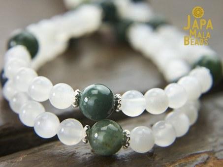 Moonstone and Moss Agate Mala Beads