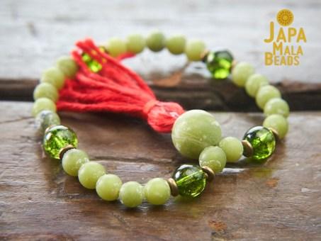 Jade and Peridot hand mala