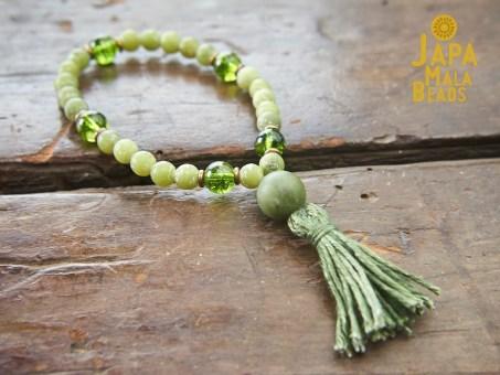 Jade and Peridot wrist mala