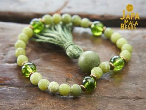 Jade and Peridot bracelet mala beads
