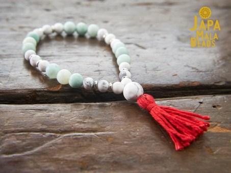 Howlite and Amazonite Bracelet Mala