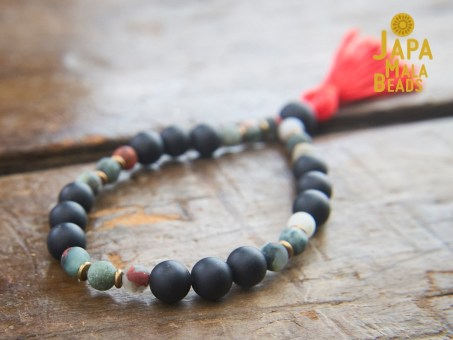 Black Obsidian and African Bloodstone hand mala
