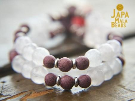 Purple Sandalwood and Rose Quartz Mala Beads