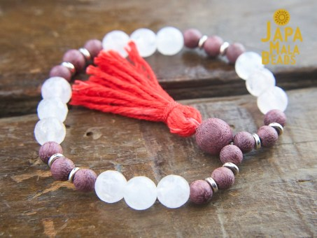 Sandalwood Rose Quartz Bracelet Mala Beads