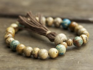 Picture Jasper and Magnesite Mala