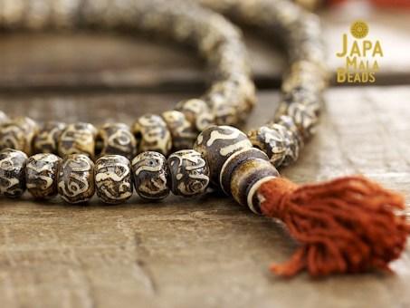 Carved Bone Mantra Full Mala