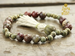 Apple Jasper and Green Sandalwood Mala