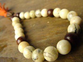 African Opal & Wood Mala