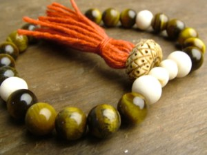 Tiger Eye and Bone Mala