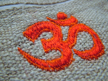 Embroidered Om Hemp Mala Bag