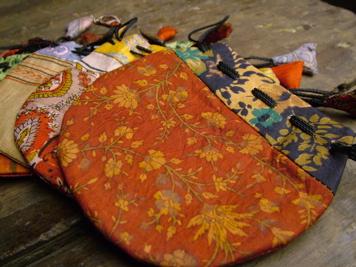 Silk Sari Drawstring Mala Bag