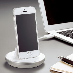 The charger which is used for iPhone upright, 'i-STAND-BY-ME', makes you convenient on your desk