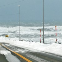 北海道、オロロラインの冬の景色。初山別村。1月