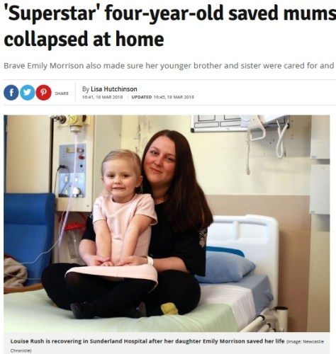 咄嗟の機転でママを救った4歳児(画像は『Daily Record 2018年3月18日付「'Superstar' four-year-old saved mums life after she collapsed at home」(Image: Newcastle Chronicle)』のスクリーンショット)